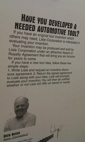 """Product package labeled, """"Have you developed a needed automotive tool?"""""""