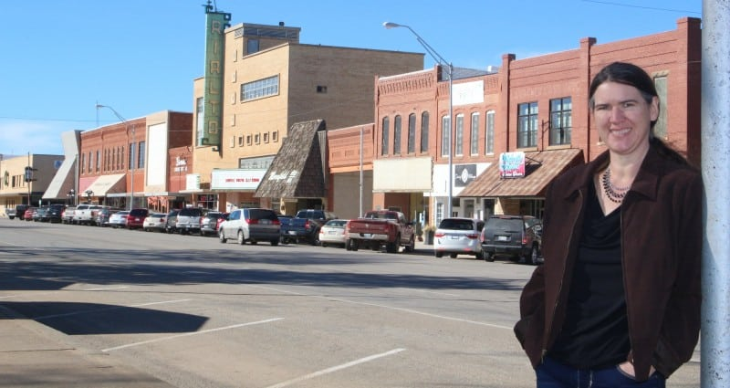 Becky McCray in Downtown Alva, Oklahoma. Photo by Colton Foote