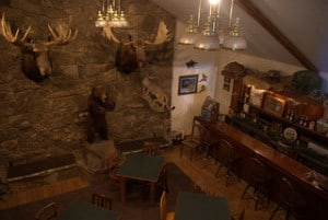 A stone fireplace with mounted hunting trophies flanks a rugged natural bar.