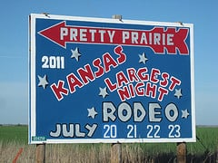 Road sign for Pretty Prairie, Kansas.