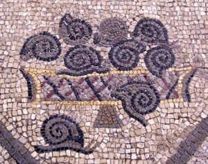 A 4th Century mosaic of a basket of snails