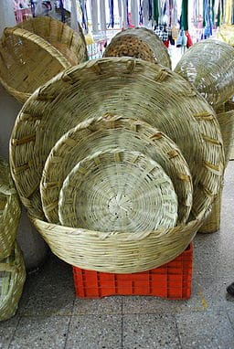 Baskets for bread vendors on display at the La Merced Market in Mexico City.