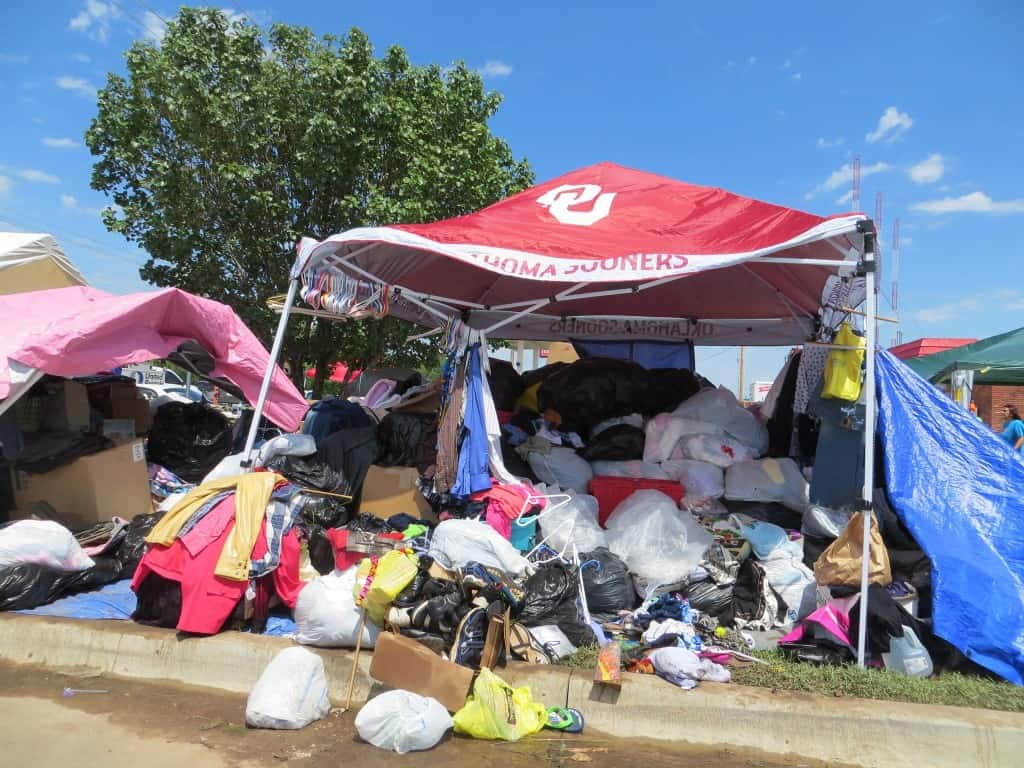 Piles of donated clothing. Photo by Patsy Terrell. Used by permission.