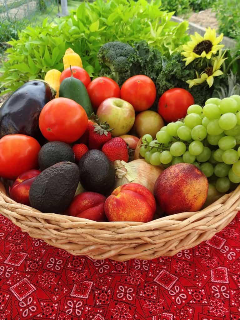 A basket of fruits on a bandana table cloth.