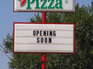 "Sign says, ""Opening Soon"""