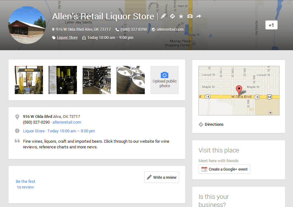 A Google+ Places page