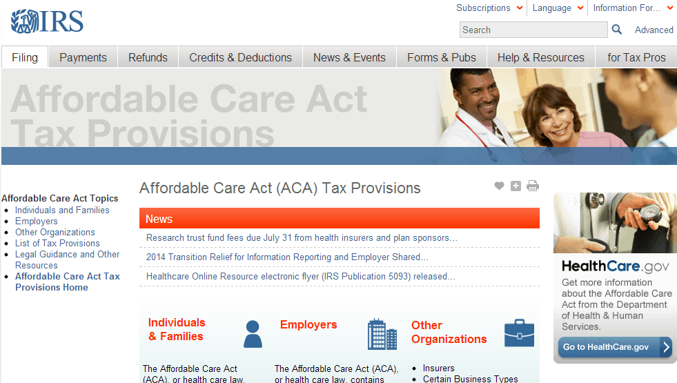 Screeshot of IRS website for ACA answers