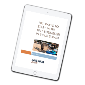 ebook reader showing cover of 101 Ways to Start More Tiny Businesses in Your Town