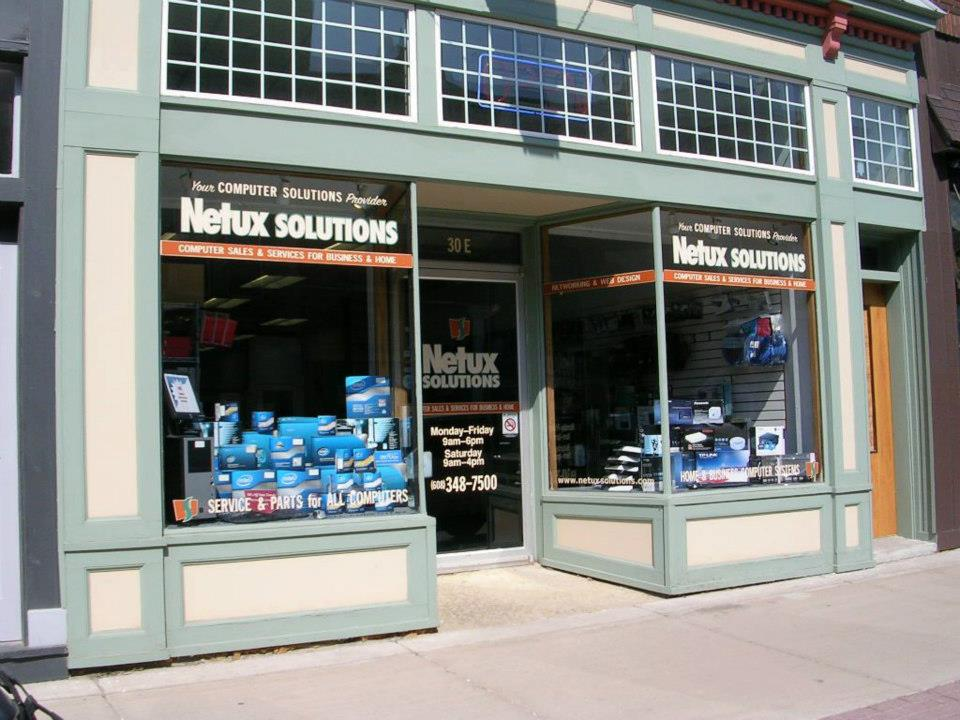 Great signage and window display. Netux Solutions, LLC, Platteville, Wisconsin.