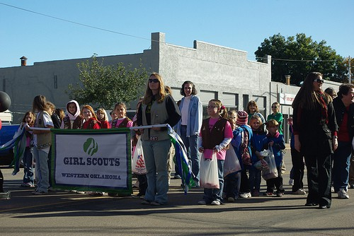 Girl Scouts lined up for a parade