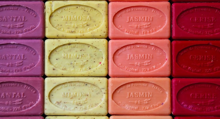 Brightly colored soap bars.