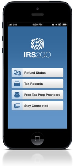 Phone with IRS2GO app