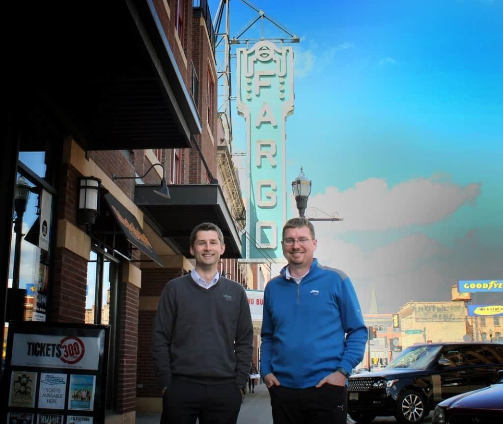 Fargo tech startup co-founders Brandon Medenwald and Bill Burgess.