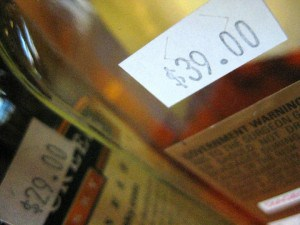 Price tags on liquor bottles