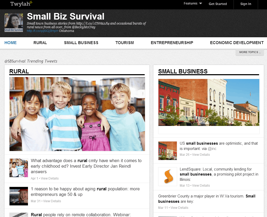Screenshot of Small Biz Survival's page on Twylah