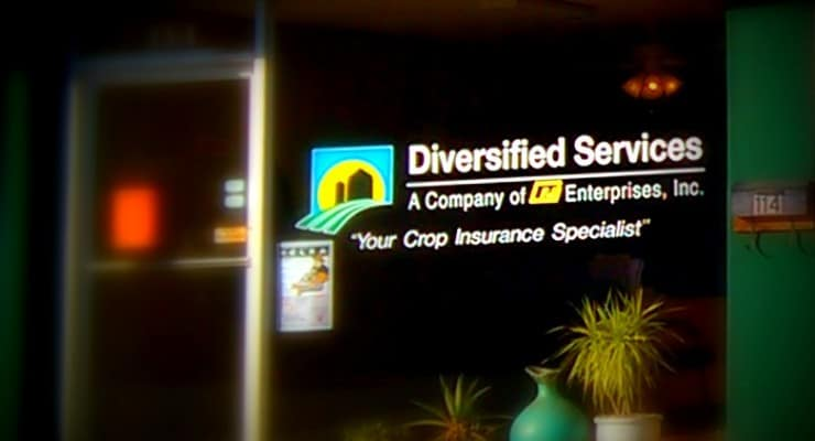 "Store window that says, ""Diversified Services."""