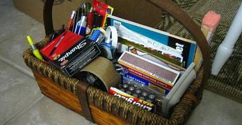 Basket of supplies.