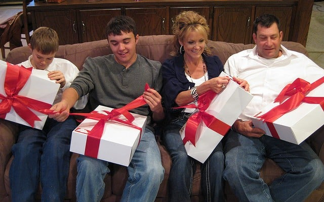 Presents with Connie's family