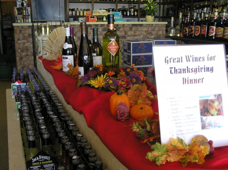 A display of wines for Thanksgiving dinner.