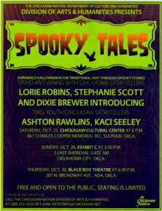 "Flyer for ""Spooky Tales"" storytelling event"