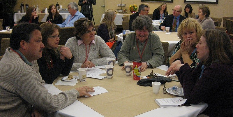 Audience members working together in Elliot Lake, Ontario.