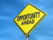 "Yield sign with ""Opportunity Ahead"""