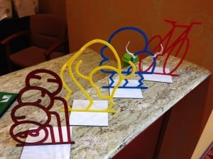 Models of bike rack art from Norman, Oklahoma. Photo by Becky McCray.