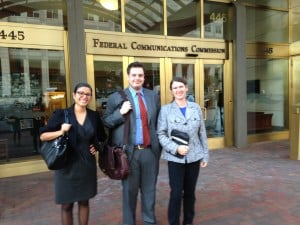 Edyael Casaperalta, Lucas Nelson, and Becky McCray in Washington, DC, to meet with FCC staff. Photo by Kate Forscey.