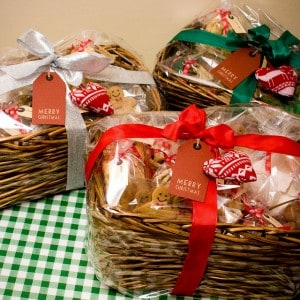 "Baskets full of treats labeled ""Merry Christmas"""