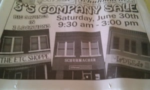 Newspaper ad featuring three small businesses.