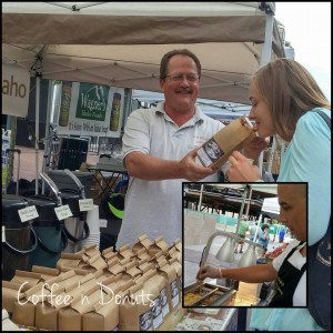 """Capital City Public Market, taken by Melissa Nodzu, used with permission. Ernie Garvin of Homestead Brooms, rolling pins from SJ Woodworks, and Brett """"Buzz"""" Davis of Long Valley Coffee."""