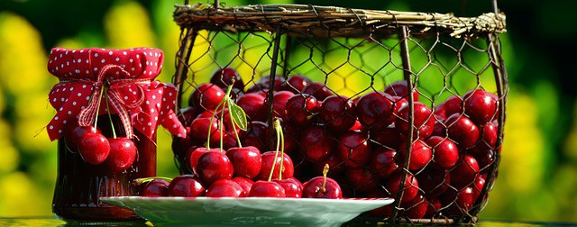 basket of cherries- public domain on pixabay. Photographer condesign