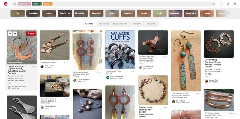 Pinterest search results