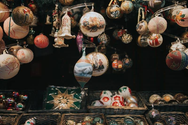 Basket of ornaments.