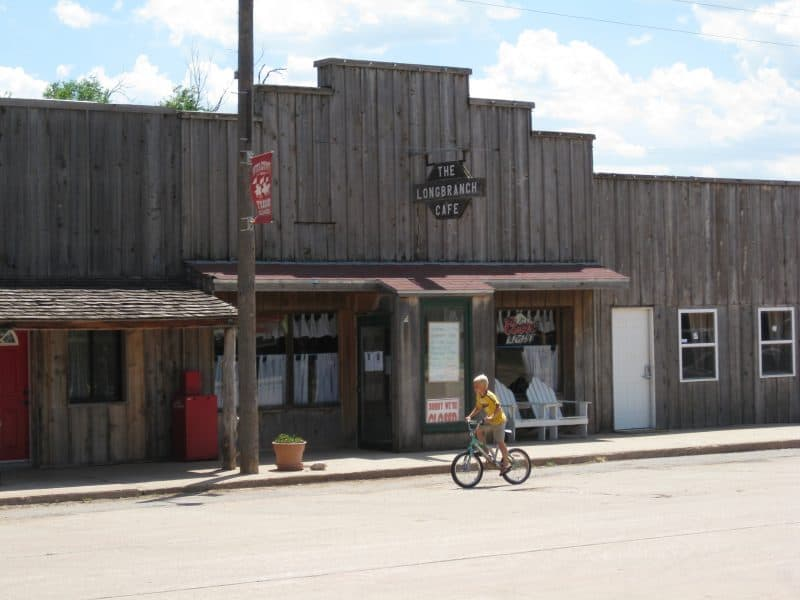 wooden storefronts in Freedom, Oklahoma