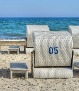 Basket chairs on a beach