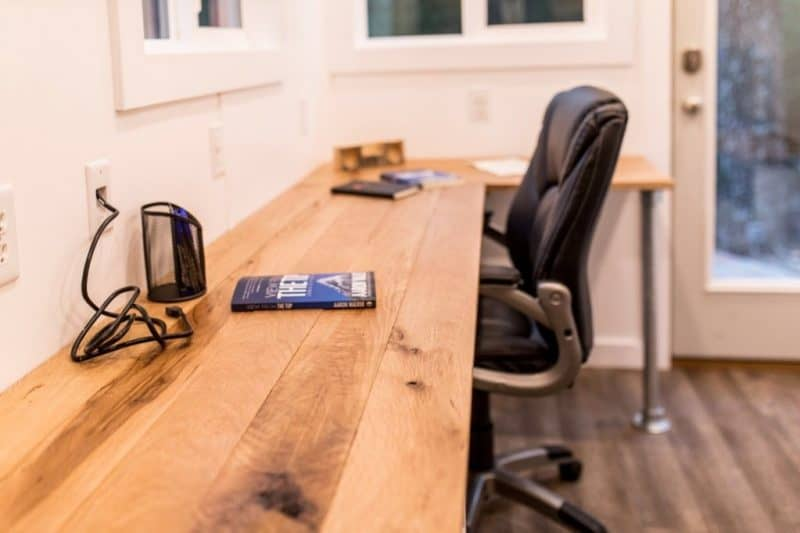 Desk and chair in tiny mobile office space