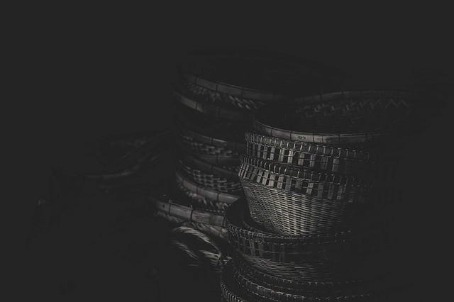 Baskets on dark background