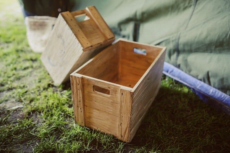 Plain wooden boxes with handles