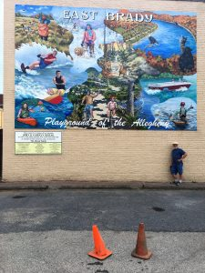Mural showing outdoor recreation