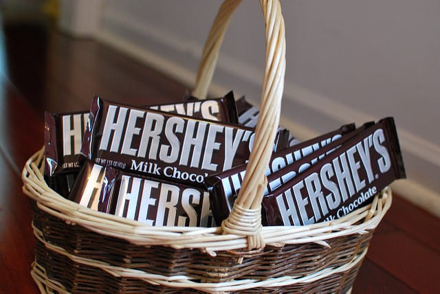 Basket of Hershey's bars Photo CC by slgckgc
