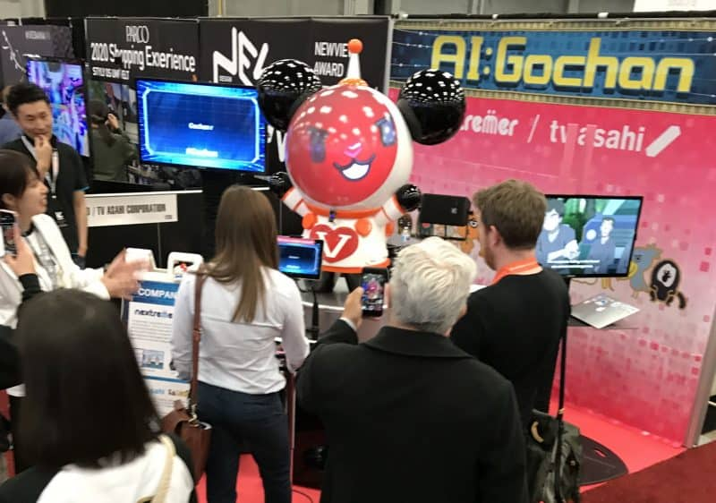AI-driven Japanese robot raps a song it just made up for you at SXSW 2018. Photo by Becky McCray