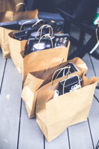 Orders in shopping bags, ready to pick up
