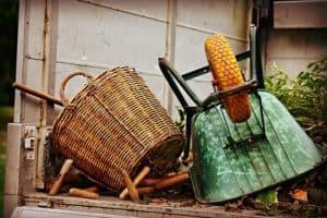 Work basket and wheelbarrow ready to use