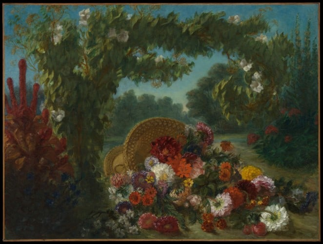 Fine art painting of a basket of flowers by artist Delacroix