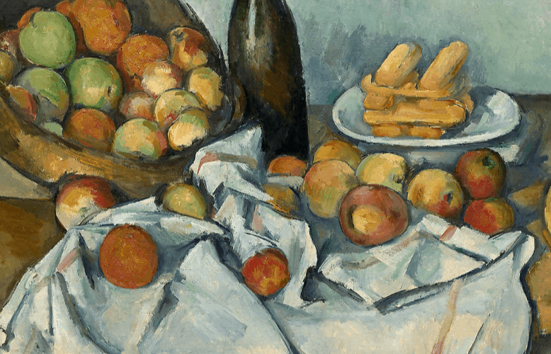 Still life with basket of fruit by artist Paul Cezanne