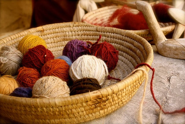 Basket with yarns