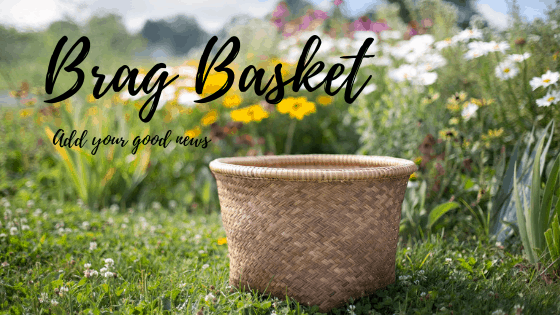 """Brag Basket - add your good news"" over a photo of a basket in a field of flowers"