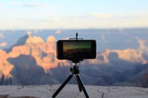 Camera phone on a tripod outdoors