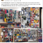 Pictures of a local store containing unexpected items